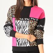 /achat-sweats-col-rond-crewneck/fila-sweat-crewneck-femme-leopard-papina-687360-noir-rose-fushia-jaune-201362.html