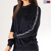 /achat-sweats-col-rond-crewneck/tommy-hilfiger-jeans-sweat-crewneck-femme-velours-a-bandes-cn-2043-bleu-marine-201355.html