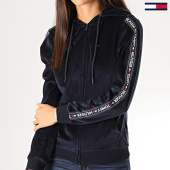 /achat-sweats-zippes-capuche/tommy-hilfiger-jeans-sweat-zippe-capuche-femme-velours-a-bandes-2044-bleu-marine-201356.html