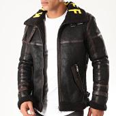 /achat-blousons/john-h-blouson-zippe-fourrure-6605-noir-marron-jaune-201557.html