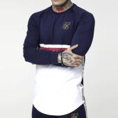 /achat-t-shirts-manches-longues/siksilk-tee-shirt-oversize-manches-longues-a-bandes-performance-14644-bleu-marine-blanc-201931.html