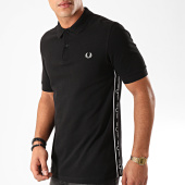 /achat-polos-manches-courtes/fred-perry--polo-manches-courtes-a-bandes-taped-side-m7532-noir-202644.html