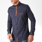/achat-chemises-manches-longues/black-needle-chemise-manches-longues-y-3431-bleu-marine-marron-202822.html
