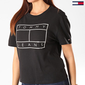 /achat-t-shirts/tommy-jeans-tee-shirt-femme-outline-flag-7537-noir-argente-203197.html