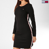 /achat-robes/tommy-jeans-robe-tee-shirt-femme-manches-longues-a-bandes-tape-detail-bodycon-7593-noir-203371.html
