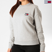 /achat-sweats-col-rond-crewneck/tommy-jeans-sweat-crewneck-femme-tommy-badge-7786-gris-chine-203377.html