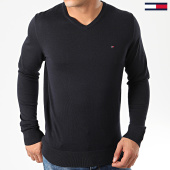 /achat-pulls/tommy-hilfiger-pull-col-v-core-cotton-silk-4979-bleu-marine-203418.html
