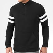 /achat-sweats-col-zippe/lbo-sweat-demi-zip-avec-bandes-blanches-879-noir-203669.html