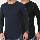 /achat-t-shirts-manches-longues/lbo-lot-de-2-tee-shirts-oversize-manches-longues-unis-960-noir-et-bleu-marine-203675.html