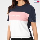 /achat-t-shirts/tommy-jeans-tee-shirt-femme-stripe-logo-7536-bleu-marine-rose-blanc-203541.html