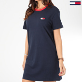 /achat-robes/tommy-jeans-robe-tee-shirt-femme-contrast-neck-rib-7595-bleu-marine-203544.html
