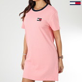 /achat-robes/tommy-jeans-robe-tee-shirt-femme-contrast-neck-rib-7595-rose-203545.html
