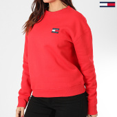 /achat-sweats-col-rond-crewneck/tommy-jeans-sweat-crewneck-femme-tommy-badge-7786-rouge-203551.html