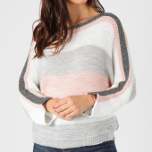 /achat-pulls/girls-only-pull-femme-a-bandes-pu48-rose-blanc-gris-argente-203722.html