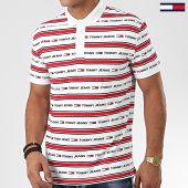 /achat-polos-manches-courtes/tommy-jeans-polo-manches-courtes-branded-stripe-7449-blanc-rouge-203693.html