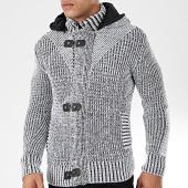 /achat-cardigans-gilets/classic-series-gilet-zippe-capuche-1002-blanc-noir-chine-203848.html