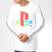 /achat-t-shirts-manches-longues/playstation-tee-shirt-manches-longues-a-bandes-taping-blanc-204090.html
