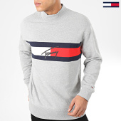 /achat-sweats-col-rond-crewneck/tommy-jeans-sweat-col-montant-jacquard-flag-panel-7407-gris-chine-204361.html