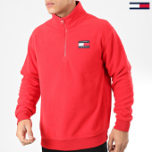 /achat-sweats-col-zippe/tommy-jeans-sweat-col-montant-zippe-polar-fleece-badge-7559-rouge-204362.html