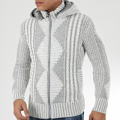 /achat-cardigans-gilets/classic-series-gilet-zippe-capuche-1021-blanc-gris-204560.html