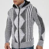/achat-cardigans-gilets/classic-series-gilet-zippe-capuche-1021-blanc-noir-204564.html
