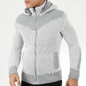 /achat-cardigans-gilets/classic-series-gilet-zippe-capuche-1009-gris-blanc-204583.html