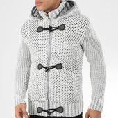 /achat-cardigans-gilets/classic-series-gilet-zippe-capuche-1019-blanc-gris-204585.html