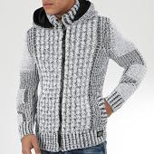 /achat-cardigans-gilets/classic-series-gilet-zippe-capuche-1013-blanc-noir-204586.html