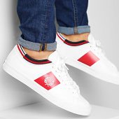 /achat-baskets-basses/fred-perry-baskets-underspin-tipped-cuff-leather-fpb7147-white-red-204556.html
