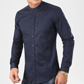/achat-chemises-manches-longues/lbo-chemise-manches-longues-col-mao-slim-fit-971-bleu-marine-204584.html
