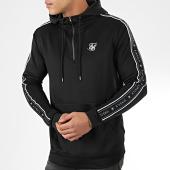 /achat-sweats-zippes-capuche/siksilk-sweat-col-zippe-capuche-a-bandes-14-zip-overhead-panel-15425-noir-204511.html