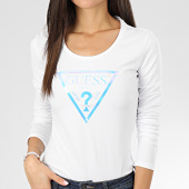 /achat-t-shirts-manches-longues/guess-tee-shirt-slim-femme-manches-longues-w01i76-k6yw0-blanc-iridescent-204702.html
