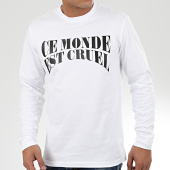 /achat-t-shirts-manches-longues/vald-tee-shirt-manches-longues-ce-monde-est-cruel-blanc-204795.html