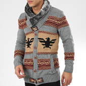 /achat-cardigans-gilets/classic-series-gilet-col-amplified-alg-335-gris-chine-camel-204942.html