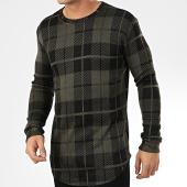 /achat-t-shirts-manches-longues/frilivin-tee-shirt-manches-longues-a-carreaux-oversize-5374-vert-kaki-noir-205026.html