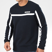 /achat-sweats-col-rond-crewneck/jack-and-jones-sweat-crewneck-a-bandes-super-cell-bleu-marine-205223.html