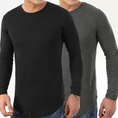 /achat-t-shirts-manches-longues/lbo-lot-de-2-tee-shirts-oversize-manches-longues-unis-96-gris-anthracite-et-noir-205172.html