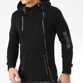 /achat-sweats-zippes-capuche/ikao-sweat-zippe-capuche-a-bandes-f694-noir-205337.html