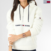 /achat-sweats-zippes-capuche/tommy-jeans-sweat-col-zippe-capuche-femme-fourrure-teddy-popover-7582-blanc-205245.html