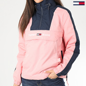 /achat-vestes/tommy-jeans-veste-capuche-col-zippe-femme-a-bandes-linear-logo-popover-rose-bleu-marine-205246.html
