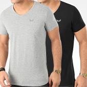 /achat-t-shirts/kaporal-lot-de-2-tee-shirts-col-v-gift-noir-gris-chine-205434.html