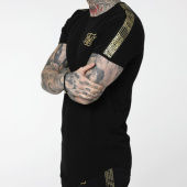 /achat-t-shirts-longs-oversize/siksilk-tee-shirt-oversize-a-bandes-gold-edit-14932-noir-dore-205562.html