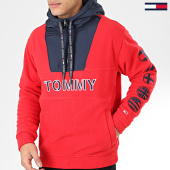 /achat-sweats-zippes-capuche/tommy-jeans-sweat-col-zippe-capuche-tommy-logo-7397-rouge-205552.html