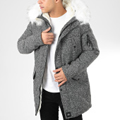 /achat-parkas/sixth-june-parka-fourrure-m2615cow-gris-anthracite-chine-blanc-205612.html