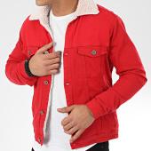 /achat-vestes-jean/black-needle-veste-jean-col-mouton-5008-rouge-beige-205817.html