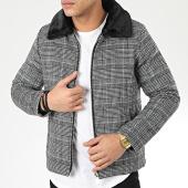/achat-vestes/john-h-veste-zippee-col-fourrure-a-carreaux-w008-gris-noir-206038.html