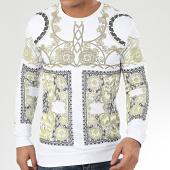 /achat-sweats-col-rond-crewneck/john-h-sweat-crewneck-renaissance-avec-strass-sw543-blanc-dore-206070.html