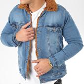 /achat-vestes-jean/classic-series-veste-jean-fourrure-6740-bleu-denim-marron-206641.html