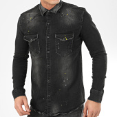 /achat-chemises-manches-longues/uniplay-chemise-jean-manches-longues-177-noir-207047.html