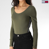 /achat-t-shirts-manches-longues/tommy-hilfiger-body-manches-longues-femme-a-bandes-1408-vert-kaki-207466.html